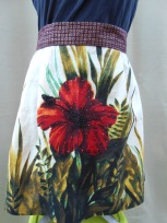half apron printed linen with seed beads